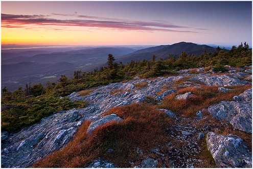 Sunset on top of Mount Abraham, central Green Mountains, VT.