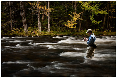 Friend and fellow photographer Jay Ericson chooses a fly late in the day on the upper Connecticut River in northern New Hampshire.