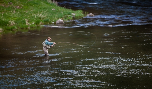 picture of man fly fishing