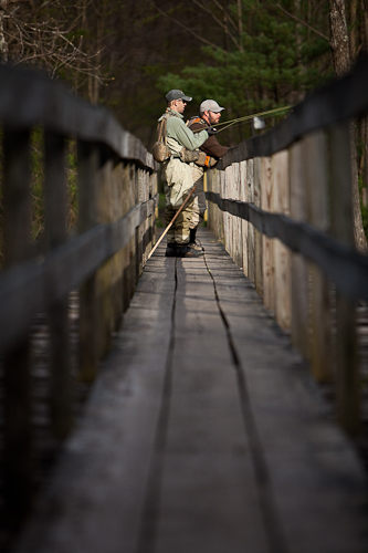 picture of fly fishermen on a bridge